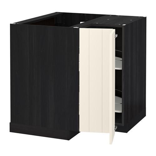 МЕТОД Угл напольн шкаф с вращающ секц - Хитарп белый с оттенком, под дерево черный