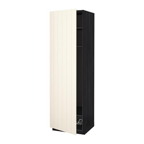 МЕТОД Выс шкаф с полками/проволоч корзин - 60x60x200 см, Хитарп белый с оттенком, под дерево черный