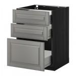 МЕТОД / ФОРВАРА Напольный шкаф с 3 ящиками - 60x60 см, Будбин серый, под дерево черный