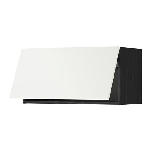 МЕТОД Горизонтальный навесной шкаф - 80x40 см, Хэггеби белый, под дерево черный