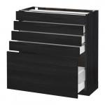МЕТОД / МАКСИМЕРА Напольный шкаф с 5 ящиками - 80x37 см, Тингсрид под дерево черный, под дерево черный