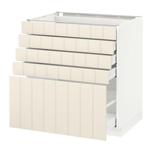 МЕТОД / МАКСИМЕРА Напольный шкаф с 5 ящиками - 80x60 см, Хитарп белый с оттенком, белый
