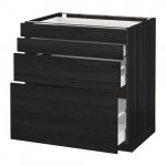МЕТОД / МАКСИМЕРА Напольн шкаф 4 фронт панели/4 ящика - под дерево черный, Тингсрид под дерево черный, 80x60 см