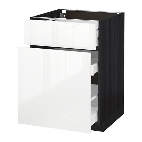 МЕТОД / МАКСИМЕРА Напольн шкаф/выдвижн секц/ящик - 60x60 см, Рингульт глянцевый белый, под дерево черный