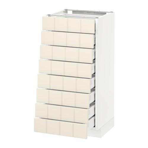 МЕТОД / МАКСИМЕРА Наполн шкаф 8 фронт/8 низк ящиков - 40x37 см, Хитарп белый с оттенком, белый