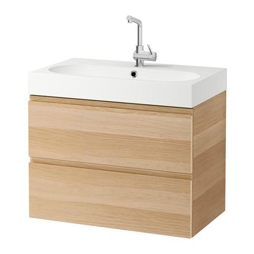 Mueble de lavabo BRÅVIKEN / GODMORGON con cajón de roble blanqueado 2
