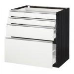 МЕТОД / МАКСИМЕРА Напольн шкаф 4 фронт панели/4 ящика - 80x60 см, Нодста белый/алюминий, под дерево черный