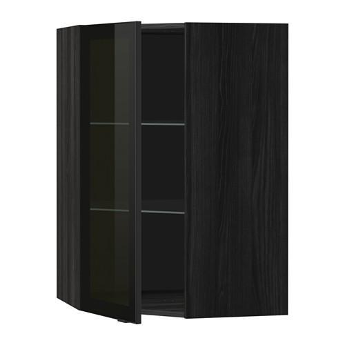 МЕТОД Углов навесн шк с полками/сткл дв - 68x100 см, Ютис дымчатое стекло/черный, под дерево черный