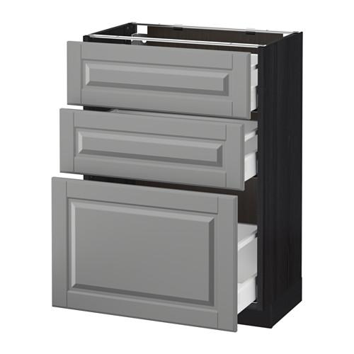 МЕТОД / МАКСИМЕРА Напольный шкаф с 3 ящиками - 60x37 см, Будбин серый, под дерево черный