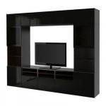 БЕСТО Шкаф для ТВ, комбин/стеклян дверцы - черно-коричневый/Сельсвикен глянцевый/черный прозрачное стекло, направляющие ящика,нажимные