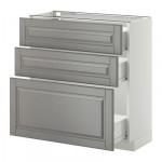 МЕТОД / ФОРВАРА Напольный шкаф с 3 ящиками - 80x37 см, Будбин серый, белый