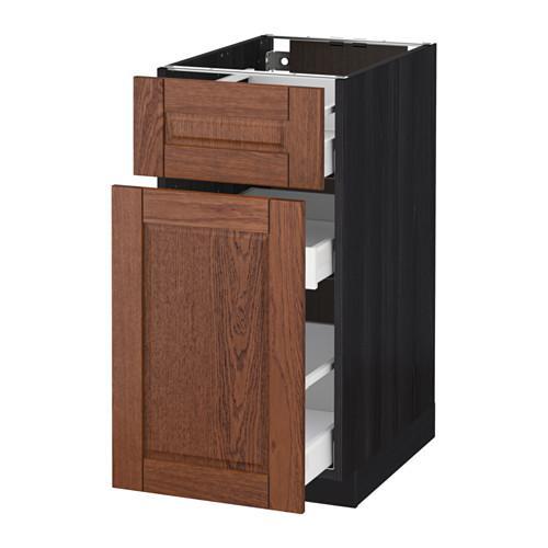 МЕТОД / МАКСИМЕРА Напольн шкаф/выдвижн секц/ящик - 40x60 см, Филипстад коричневый, под дерево черный