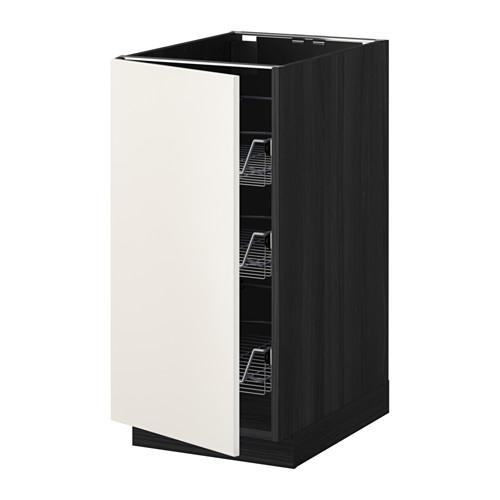 МЕТОД Напольный шкаф с проволочн ящиками - 40x60 см, Веддинге белый, под дерево черный