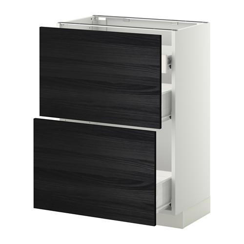 VERFAHREN / FORVARA Nap Schrank 2 FRNT PNL / 1nizk / 2sr Schubladen - weiß, schwarz Tingsrid Holz, 60x37 cm
