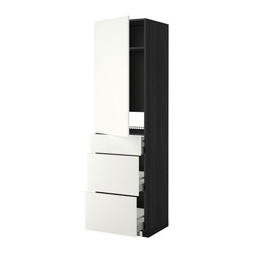 МЕТОД / МАКСИМЕРА Выс шкаф д/холодильн, с дврц/3 ящ - Хэггеби белый, под дерево черный