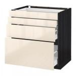 МЕТОД / МАКСИМЕРА Напольн шкаф 4 фронт панели/4 ящика - 80x60 см, Рингульт глянцевый кремовый, под дерево черный