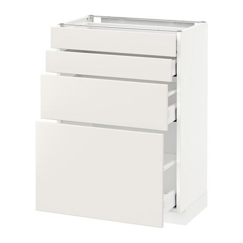 МЕТОД / МАКСИМЕРА Напольн шкаф 4 фронт панели/4 ящика - 60x37 см, Веддинге белый, белый