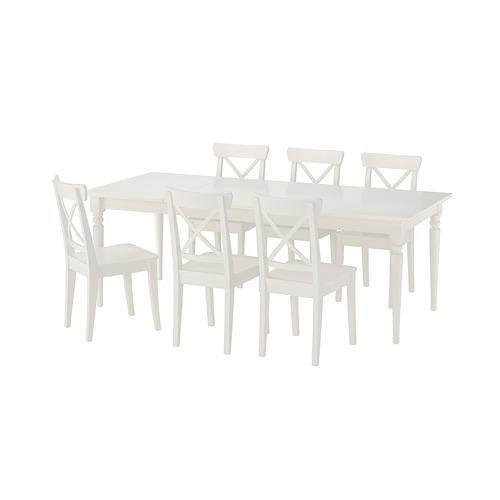 INGATORP / INGOLF bord og 6 stoler hvit / hvit