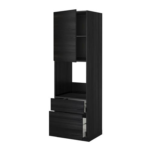 METHOD / MAXIMER High cabinet for perfume + door / 2 drawer - for wood black, Tingsried for wood black, 60x60x200 cm