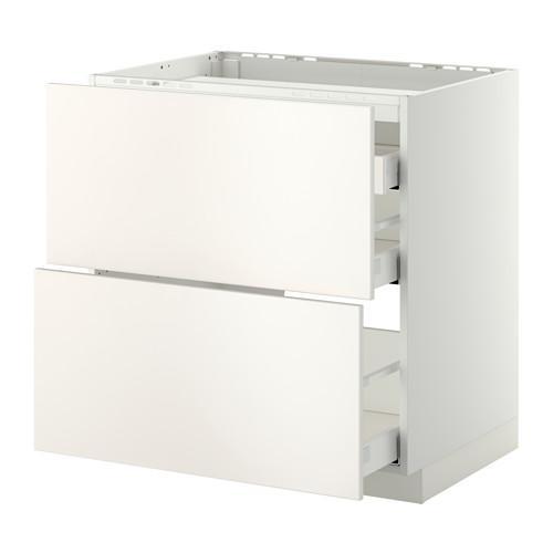 МЕТОД / МАКСИМЕРА Напольн шкаф/2 фронт пнл/3 ящика - 80x60 см, Веддинге белый, белый