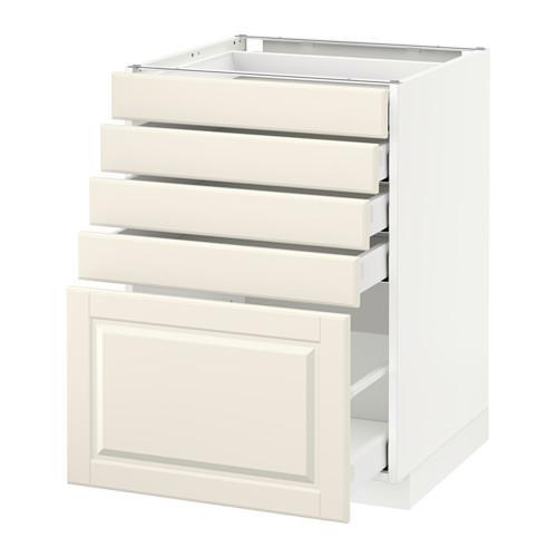 МЕТОД / МАКСИМЕРА Напольный шкаф с 5 ящиками - 60x60 см, Будбин белый с оттенком, белый