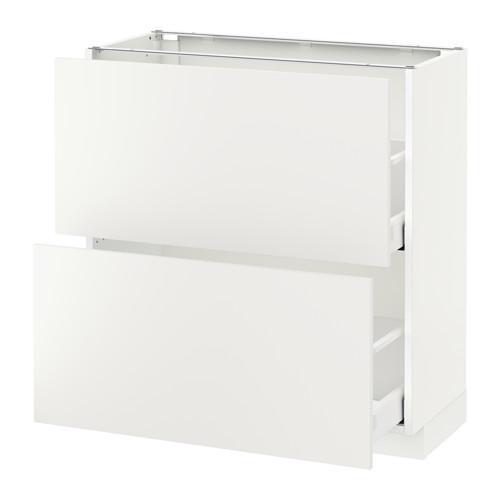 МЕТОД / МАКСИМЕРА Напольный шкаф с 2 ящиками - 80x37 см, Хэггеби белый, белый