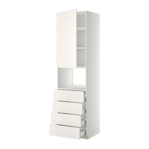 МЕТОД / МАКСИМЕРА Высок шкаф д/духовки/дверца/4ящика - 60x60x220 см, Веддинге белый, белый