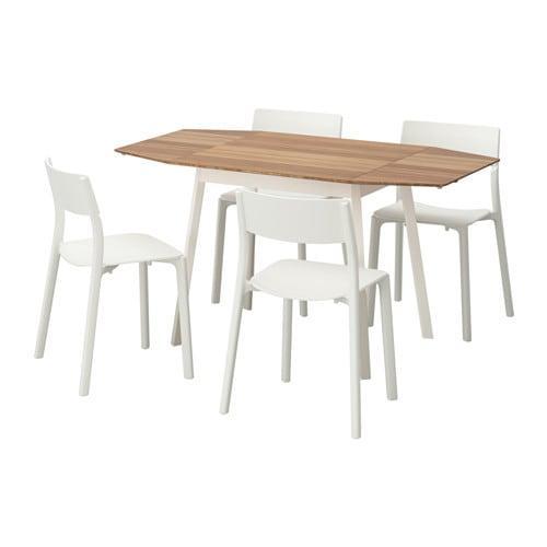 IKEA PS 2012 JANINGE Stół i 4 krzesła, bambus, biały