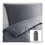 БЛОСИППА Пододеяльник и 1 наволочка - темно-серый, 150x200/50x70 см