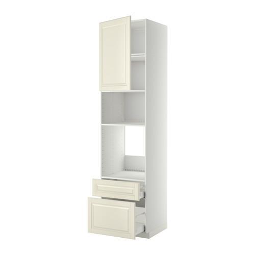МЕТОД / МАКСИМЕРА Высок шкаф д/духовки/СВЧ/дверца/2ящ - 60x60x240 см, Будбин белый с оттенком, белый