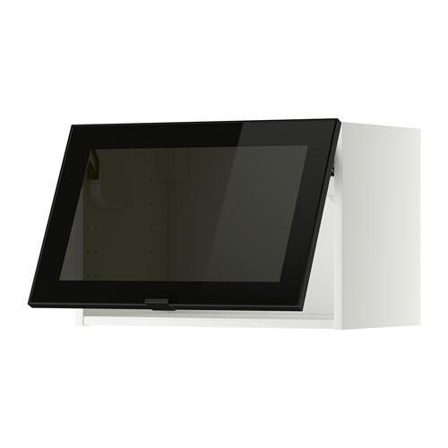 МЕТОД Гориз навесн шкаф со стекл дверью - 60x40 см, белый, Ютис дымчатое стекло/черный