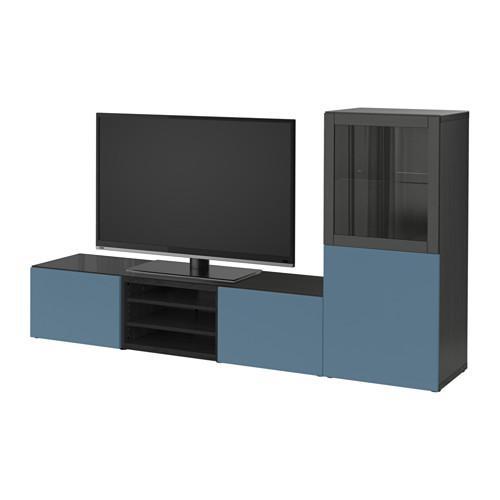 Bestå Tv Meubel In Combinatie Glazen Deuren Zwartbruin Valviken Donkerblauw Transparant Glas Ladegeleiders Sluit Voorzichtig