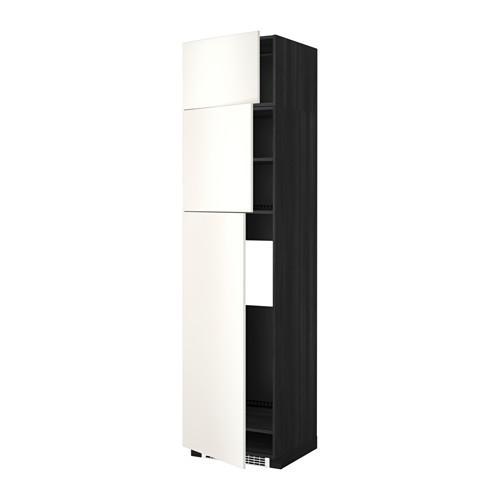 МЕТОД Высокий шкаф д/холодильника/3дверцы - Веддинге белый, под дерево черный