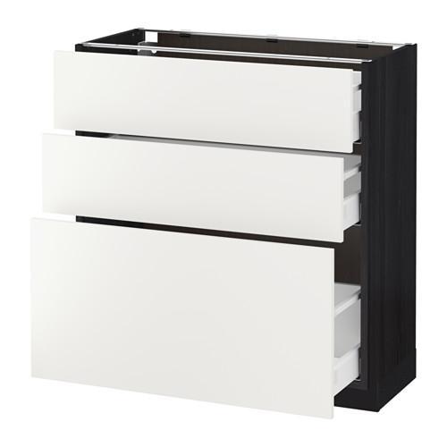 МЕТОД / МАКСИМЕРА Напольный шкаф с 3 ящиками - под дерево черный, Хэггеби белый, 80x37 см
