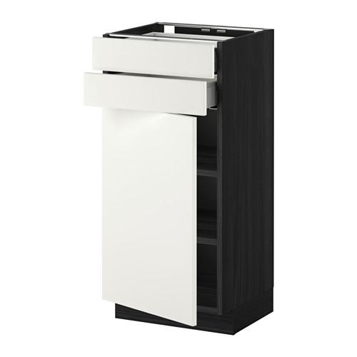 МЕТОД / МАКСИМЕРА Напольный шкаф с дверцей/2 ящиками - 40x37 см, Хэггеби белый, под дерево черный