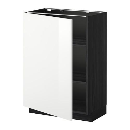 МЕТОД Напольный шкаф с полками - 60x37 см, Рингульт глянцевый белый, под дерево черный