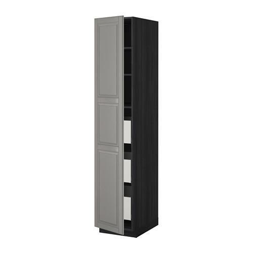 МЕТОД / МАКСИМЕРА Высокий шкаф с ящиками - 40x60x200 см, Будбин серый, под дерево черный