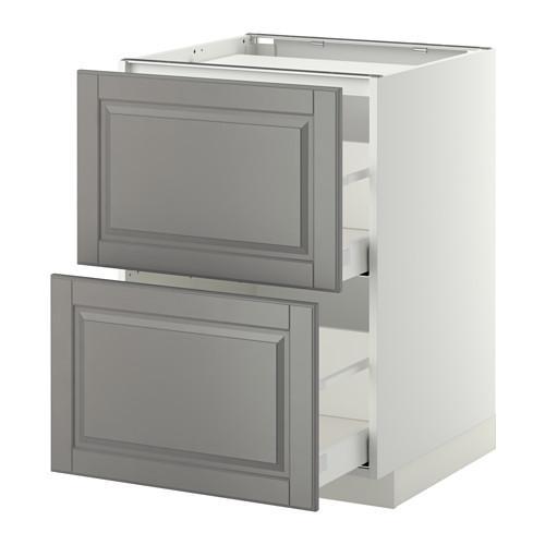 МЕТОД / МАКСИМЕРА Напольн шкаф/2фронт пнл/3ящика - 60x60 см, Будбин серый, белый