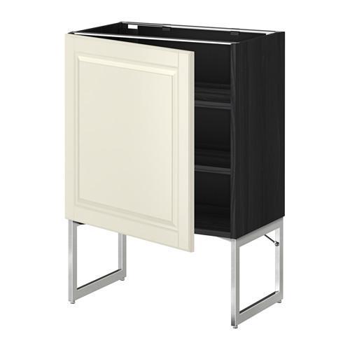 МЕТОД Напольный шкаф с полками - 60x37x60 см, Будбин белый с оттенком, под дерево черный