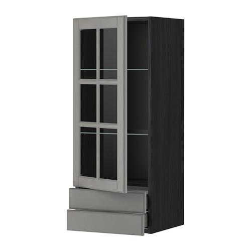 МЕТОД / МАКСИМЕРА Навесной шкаф/стекл дверца/2 ящика - 40x100 см, Будбин серый, под дерево черный