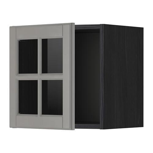 МЕТОД Навесной шкаф со стеклянной дверью - под дерево черный, Будбин серый