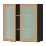МЕТОД Навесной шкаф с полками/2 стекл дв - 80x80 см, Экестад дуб, под дерево черный
