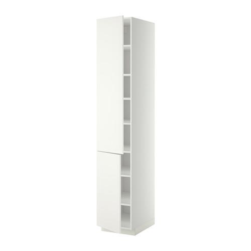 МЕТОД Высокий шкаф с полками/2 дверцы - 40x60x220 см, Хэггеби белый, белый