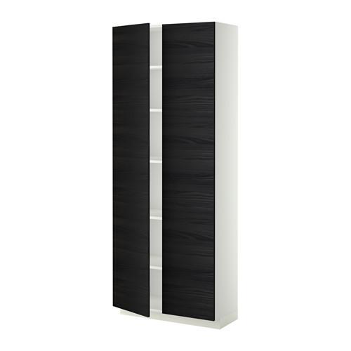 МЕТОД Высок шкаф с полками - 80x37x200 см, Тингсрид под дерево черный, белый