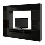 БЕСТО Шкаф для ТВ, комбин/стеклян дверцы - черно-коричневый/Сельсвикен глянцевый/черный дымчатое стекло, направляющие ящика,нажимные