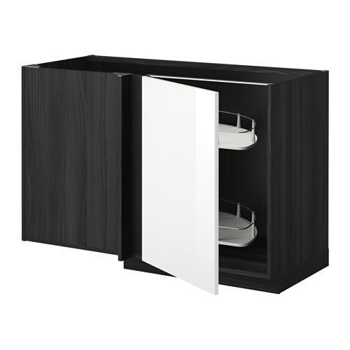 МЕТОД Угловой напол шкаф с выдвижн секц - Рингульт глянцевый белый, под дерево черный