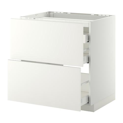 МЕТОД / МАКСИМЕРА Напольн шкаф/2 фронт пнл/3 ящика - 80x60 см, Хэггеби белый, белый