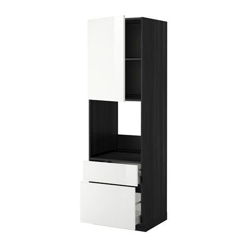 МЕТОД / МАКСИМЕРА Высок шкаф д духов+дверь/2 ящика - 60x60x200 см, Рингульт глянцевый белый, под дерево черный
