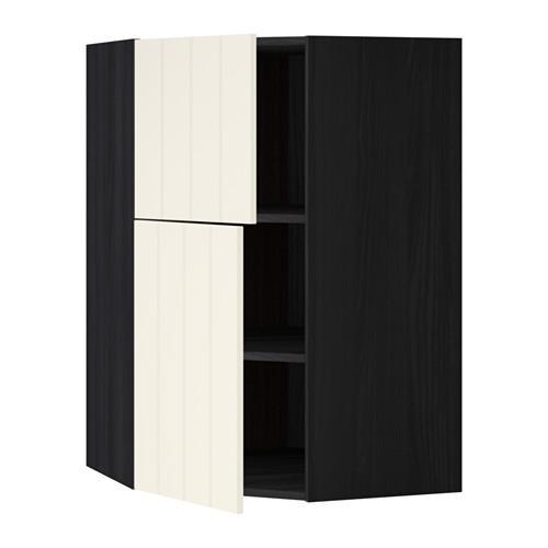 МЕТОД Угловой навесной шкаф+полки/2дверцы - Хитарп белый с оттенком, под дерево черный