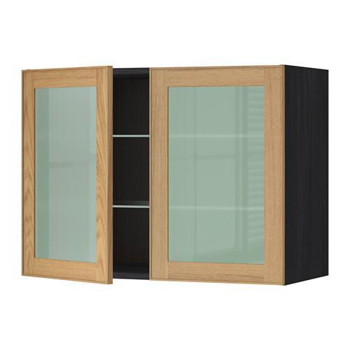 МЕТОД Навесной шкаф с полками/2 стекл дв - 80x60 см, Экестад дуб, под дерево черный